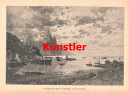 1417 U. Normann Hafen Bodoe Norwegen Kunstblatt 1889 !! - Estampes