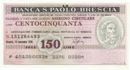 1976 - Italia - Banca S. Paolo - Brescia - Ass. Commercianti Della Provincia Di Brescia - [10] Assegni E Miniassegni