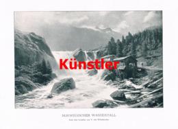 1418 T.von Eckenbrecher Norwegen Wasserfall Kunstblatt 1902 !! - Estampes