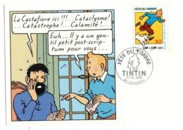 CPM  FETE DU TIMBRE 2000  TINTIN  ET CAPITAINE HADDOCK        AVEC TIMBRE - Borse E Saloni Del Collezionismo