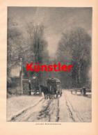 1430 Louis Apol Weihnachten Kutsche Winter Druck 1897 !! - Estampes