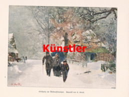 1431 K. Storch Kirchgang Weihnachten Winterbild Druck 1898 !! - Estampes