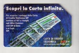 ITALIA ITALY SCHEDA TELEFONICA CARTA DI CREDITO SIP SCOPRI LA CARTA INFINITA USATA USED LIRE 5000 - Italie