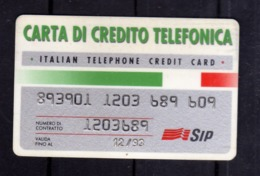 ITALIA ITALY SCHEDA TELEFONICA CARTA DI CREDITO ITALIAN TELEPHONE CREDIT CARD SIP USATA USED - Italy
