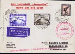 Deutsche Reich Mit Luftschiff  Zeppelin Rund Um Die Welt Mi 423 - 424 + 382 Friedrichshafen 1929 - Posta Aerea