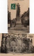 MOREUIL - Le Monument Le Porche De L'Eglise - Façade Sud Du Château - 3 CARTES - Moreuil