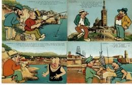 "Lot De 4 CP Illustrées ""Galéjades Marseillaises"" A Marseille - N° 1, 3, 6, 9  - Pas Circulé - Humour"