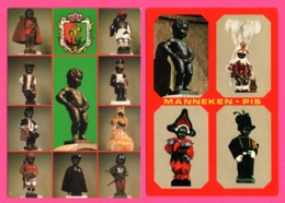 3 Cp Bruxelles - Manneken Pis Dans Différents Costumes - Indiens - Folklore - Gilles De Binche - Edit. NELS - Personaggi Famosi
