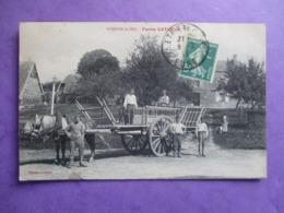 CPA 27 NOJEON LE SEC FERME CATHEUX ATTELAGE CHEVAL GRANDE CHARRETTE ANIMEE - Francia