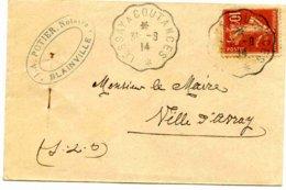 Convoyeur De Ligne Lessay à Coutances - 1914 - Marcophilie (Lettres)