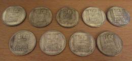 France - Lot De 9 Monnaies 10 Francs TURIN Argent 1929 à 1934 - Achat Immédiat - K. 10 Francs