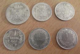 Belgique - 6 Monnaies En Argent : 2f 1867, 1f 1886, 1904, 1909, 1910, 1911 - Etats Divers - Achat Immédiat - Collections