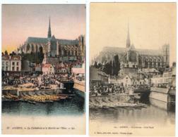 Amiens / Lot De 2 CPA / La Cathédrale Et Le Marché Sur L'Eau - Amiens