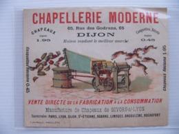 Publicité Papier Chapeau Béret Casquette Chapellerie Moderne Dijon Manufacture De Givors Sur Lyon - Casquettes & Bobs