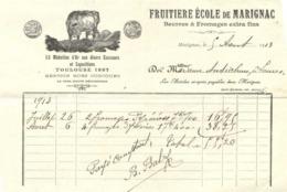 FRUITIERE ECOLE De MARIGNAC  Beurres & Fromages Extra Fins Marignac 5 Aout 1913 RV - Food