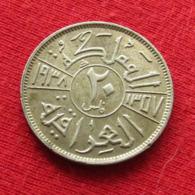 Iraq 20 Fils 1938 - I KM# 106  Lt 468 Silver  Iraque Irak - Iraq
