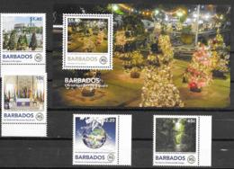 BARBADOS, 2019, MNH, THE ROYAL COMMONWEALTH SOCIETY, CHRISTMAS, BOATS, TREES, 4v+S/SHEET - Christmas