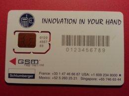 GSM SIM SCHLUMBERGER DEMO TEST INNOVATION Yag-Satine Sous GSM 123456789 Verso Voilier (BF1217 - Telefonkarten