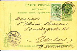 Belgium Postal Stationery Card Uprated And Sent To Denmark Verviers 3-12-1906 - Stamped Stationery