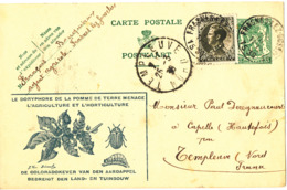 Belgium Uprated Postal Stationery Card Sent To France 24-3-1936 - Stamped Stationery