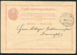 1873 Switzerland Stationery Postcard Zurich - Frauenfeld - Stamped Stationery