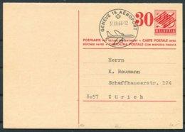 1966 Switzerland Stationery Reply Postcard Geneva Airport - Zurich - Stamped Stationery