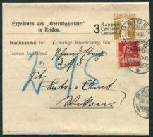 1916 Switzerland Uprated Nachnahme Stationery Wrapper. Reiden Oberwiggertaler - Wikon Luzern - Stamped Stationery