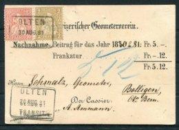 1881 Switzerland Nachnahme Card Olten - Bollingen - 1862-1881 Sitted Helvetia (perforates)