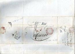 LETTRE ANCIENNE/MARQUE POSTALE PRECURSEUR 1837 < MANCHESTER < OLORON (Basses Pyrénées) - 1801-1848: Précurseurs XIX