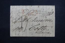 """DANEMARK - Lettre De Copenhague Pour La France En 1836 , Marque Postale """" Danemarck Par Hambourg """" - L 46203 - Danimarca"""