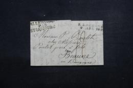 "FRANCE / ALLEMAGNE - Marque Postale "" Allemagne Par Strasbourg "" Sur Lettre Pour Beaune En 1819 - L 46204 - Postmark Collection (Covers)"