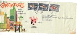 SINGAPORE 1965 - BUSTA VIAGGIATA CON 3 FRANCOBOLLI SERIE ORDINARIA - Singapore (1959-...)