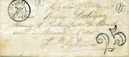 Pas De Calais HUCQUELIERS Type 15 Du 2 Juil 1851 Taxe Double Trait 25c BOITE RURALE H De Verchocq - Marcophilie (Lettres)