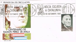 34529. Carta BARCELONA 1980. Rodillo Especial 60 Volta Ciclista Catalunya. Centenario PEREZ AYALA - 1931-Hoy: 2ª República - ... Juan Carlos I