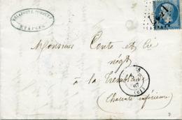 Pas De Calais ETAPLES Type 15 Du 5 Mai 1867 20c Dentelé GC 1437 Pour La Tremblade - Marcophilie (Lettres)