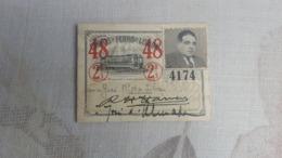 ANTIQUE PORTUGAL SEASON TICKET PASSE CARRIS DE FERRO DE LISBOA 2ª CLASSE 1948 - Abonnements Hebdomadaires & Mensuels