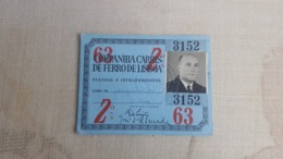 ANTIQUE PORTUGAL SEASON TICKET PASSE CARRIS DE FERRO DE LISBOA 2ª CLASSE 1963 - Abonos