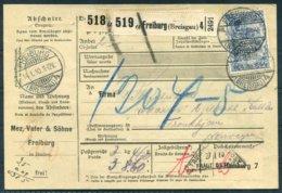 1910 Germany Paketkarten Parcelcard. Mez, Vater & Sohne, Freiburg Baden PERFIN - Trondheim Norway Via Hamburg - Deutschland