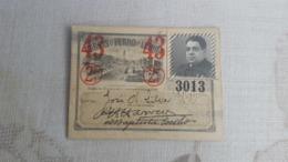 ANTIQUE PORTUGAL SEASON TICKET PASSE CARRIS DE FERRO DE LISBOA 2ª CLASSE 1943 - Europa