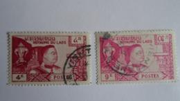 LAOS 1959 - 2 Timbres N°55 (4K Carmin) Et N°57 (9K Rose) - Used - Laos