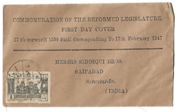 India Hyderabad State 1An Reformed Legislature Town Hall, Fdc 17th Farwardi 1356 Fasli - Hyderabad