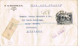 34540. Carta Aerea Certificada LIMA (Peru) 1937 To England. Via Air France. VIA CHILE - Perú