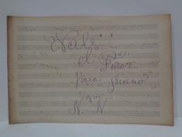 Antigua Partitura Manuscrita Para Piano. Vals El Furor. Por N.N. Principio S XX. - Partituras