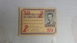 ANTIQUE PORTUGAL SEASON TICKET PASSE CARRIS DE FERRO DE LISBOA 2ª CLASSE 1959 - Abonos