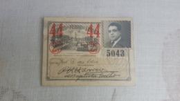 ANTIQUE PORTUGAL SEASON TICKET PASSE CARRIS DE FERRO DE LISBOA 2ª CLASSE 1944 - Abonnements Hebdomadaires & Mensuels