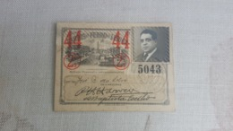 ANTIQUE PORTUGAL SEASON TICKET PASSE CARRIS DE FERRO DE LISBOA 2ª CLASSE 1944 - Abonos