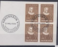 RELIGION BISHOP EGEDE HISTORY DENMARK DÄNEMARK DANEMARK 1971 MI 511 4BL ON CUT Greenland Missionary Slania Engraved - Theologen