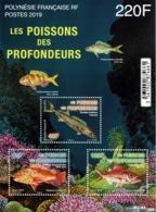 French Polynesia, Deep Sea Fish, 2019, MNH VF souvenir Sheet Of 3 - Unused Stamps