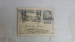 ANTIQUE PORTUGAL SEASON TICKET PASSE CARRIS DE FERRO DE LISBOA 1ª CLASSE 1944 - Abonnements Hebdomadaires & Mensuels