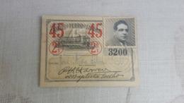 ANTIQUE PORTUGAL SEASON TICKET PASSE CARRIS DE FERRO DE LISBOA 2ª CLASSE 1945 - Abonnements Hebdomadaires & Mensuels